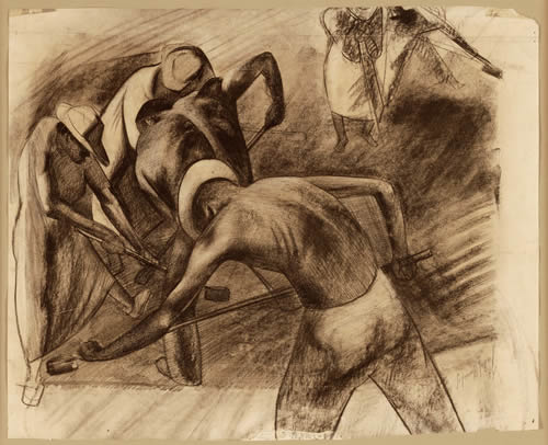 "Seymour Fogel, ""Working,"" 1934, charcoal on paper, Gift of the Roger H. Ogden Collection"