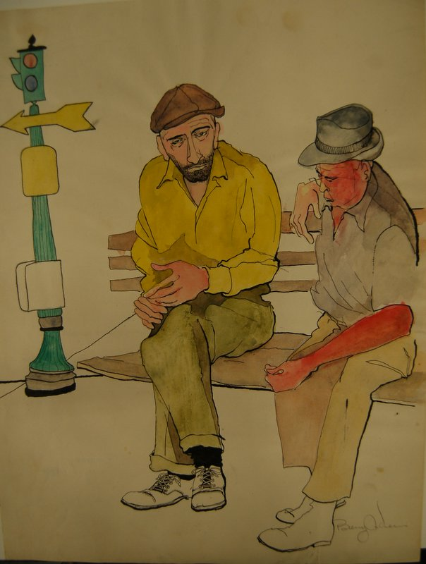 New York City Bowery (2 men on bench)