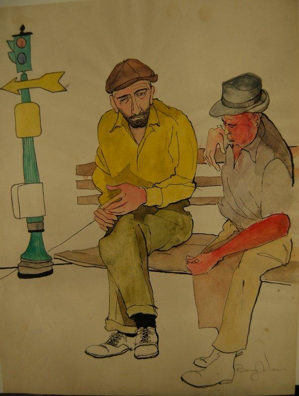 New York City Bowery (2 men on bench)