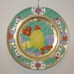 Painted brass tray with painted fruit