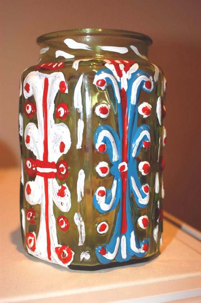 Painted glass jar