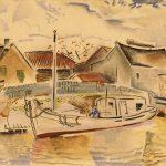 Untitled [Boat in Village harbor]