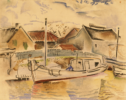 Untitled [Boat in Village harbor]