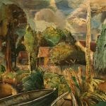 Untitled [Village Scene with boats]