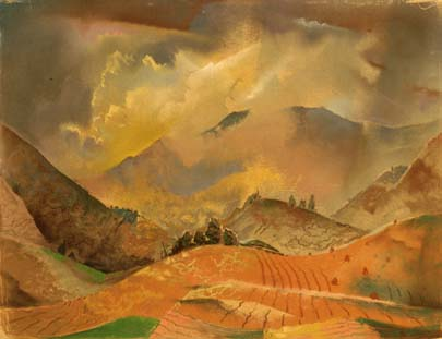 Untitled [Mt. Landscape with plowed field]