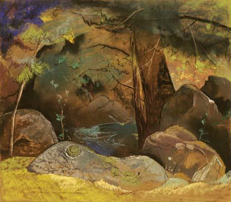 Porters Creek - Four Boulders, Tree, & Mountain Scene