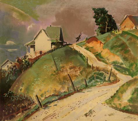Untitled [Farmhouse on Hill]
