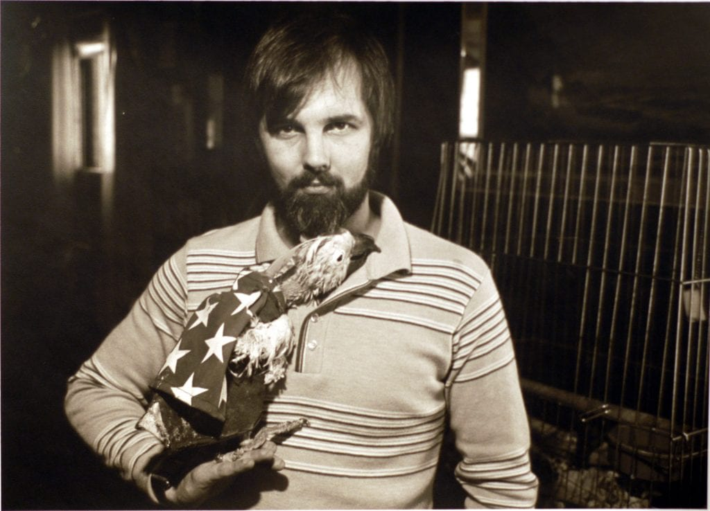 Phil Gerard and his parrot Rufus, Springfield, MA