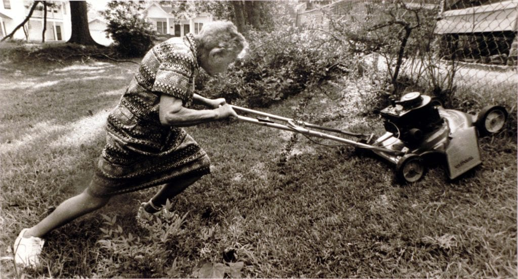 Mowing the lawn at age 90.