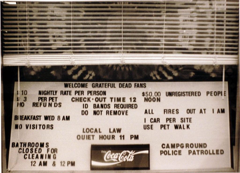 Campground rules. Buckeye Lake, OH 1992