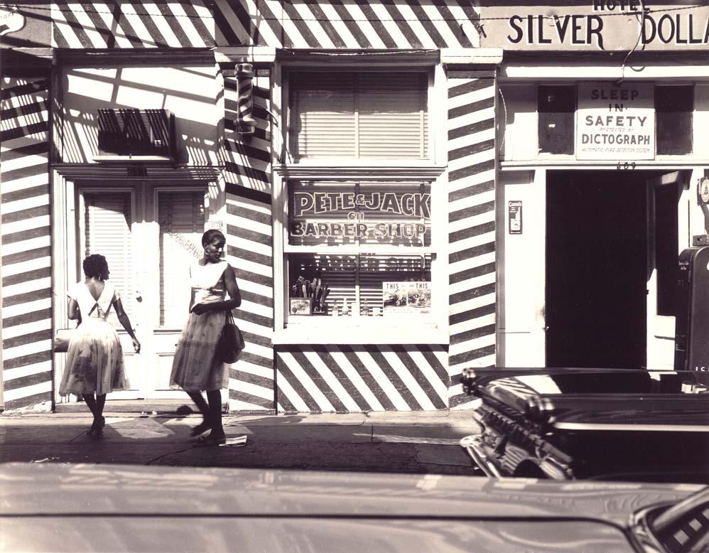 Women in Front of Barber Shop