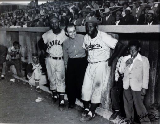 Ernie Banks, Larry Doby, Matty Brescia, Jackie Robinson, Martin's Stadium 1953
