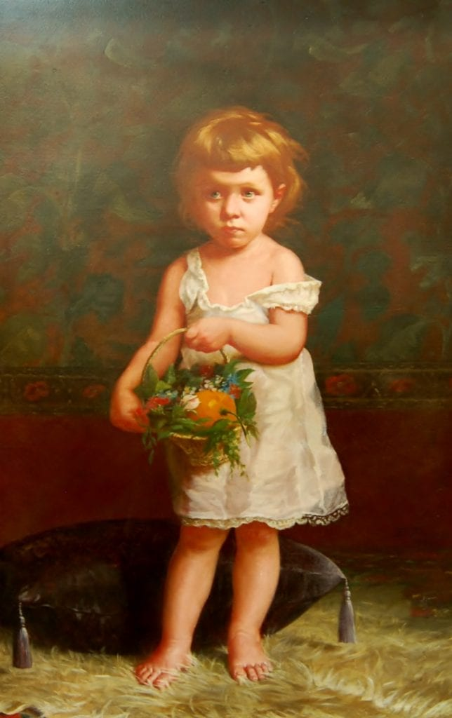 Portrait of a Little Girl with a Basket of Flowers and Orange