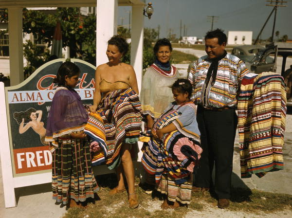 Seminole Family Selling Patchwork Clothing by Lake Okeechobee, FL.